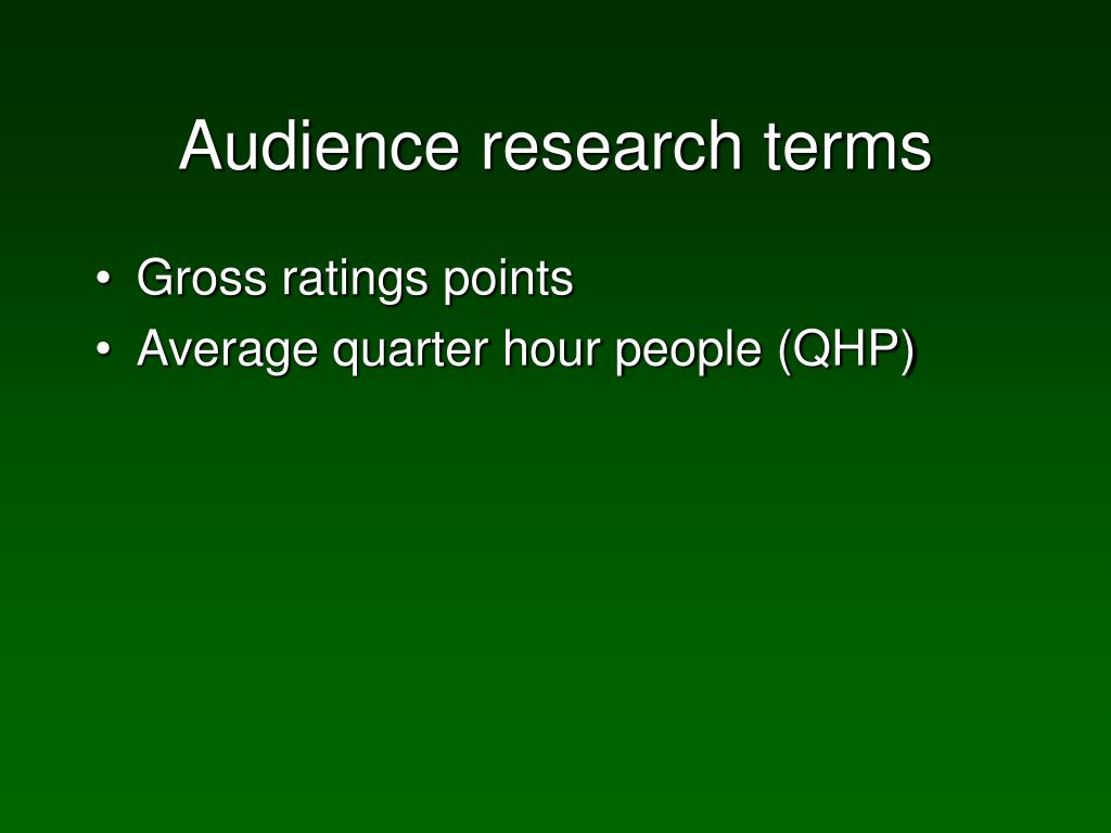 Audience research terms