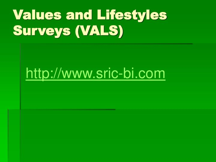 Values and Lifestyles Surveys (VALS)