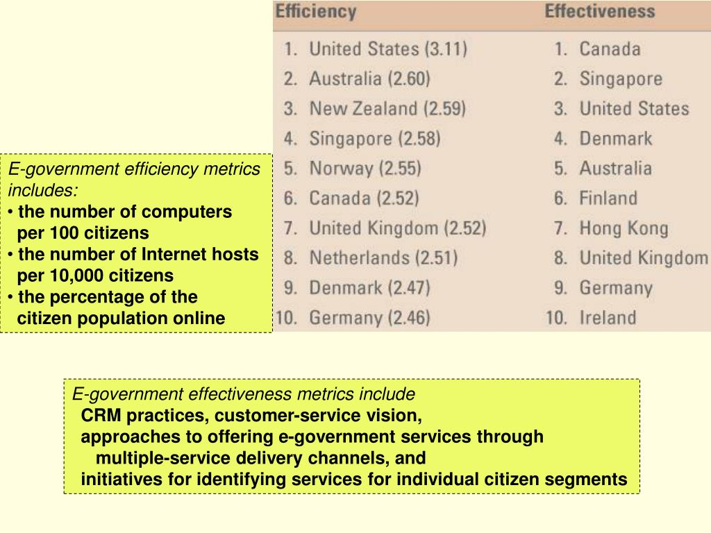 E-government efficiency metrics