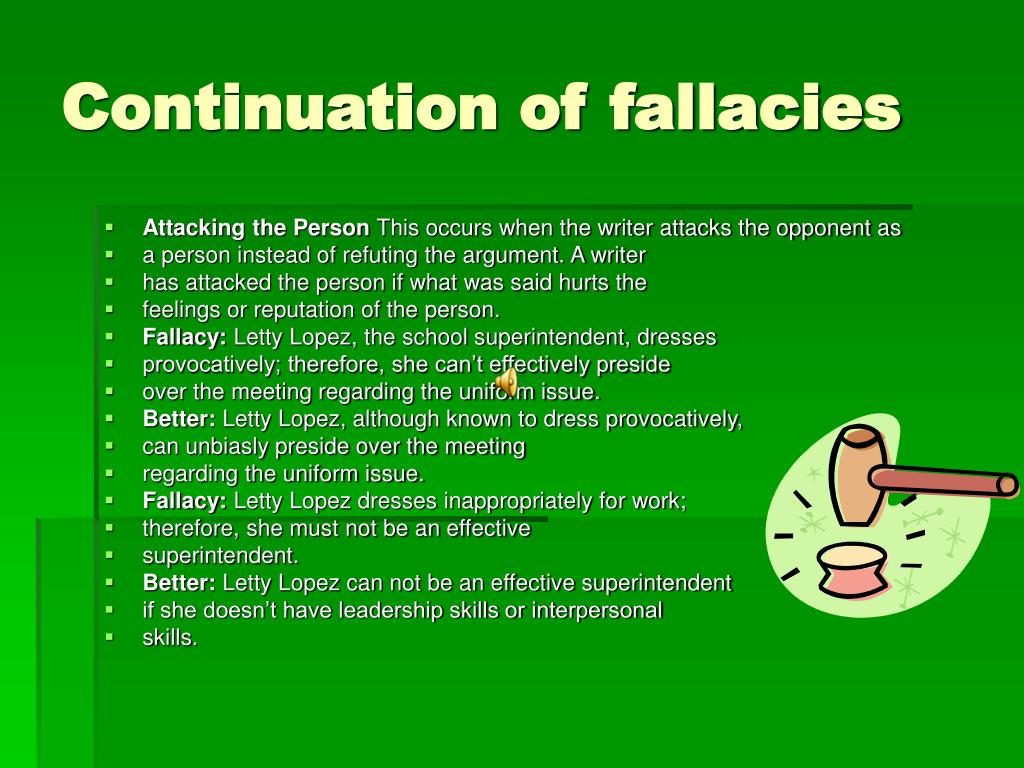 Continuation of fallacies