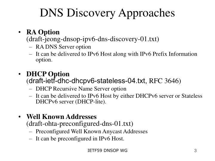 Dns discovery approaches