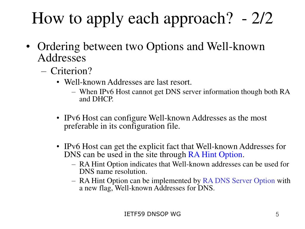 How to apply each approach?  - 2/2