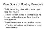 main goals of routing protocols