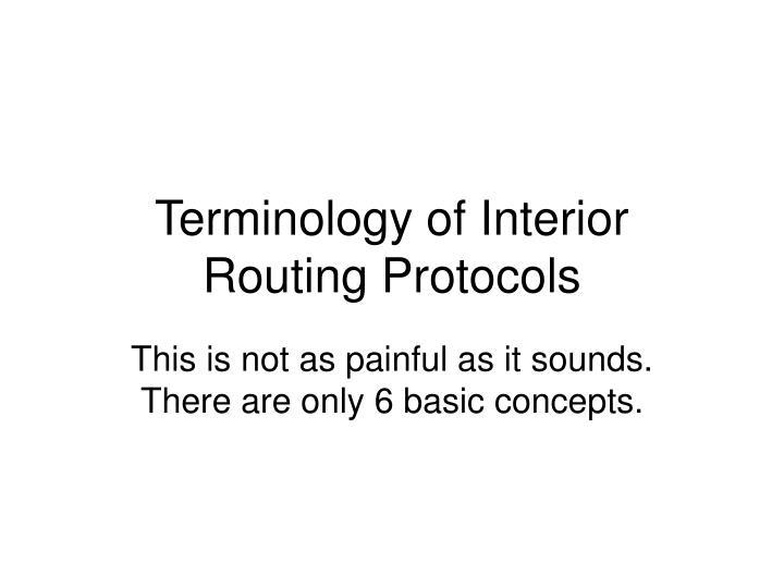 Terminology of Interior Routing Protocols