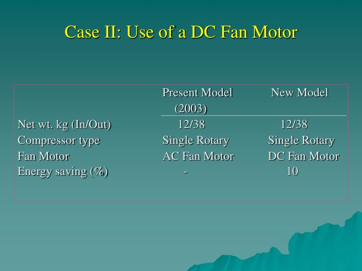 Case II: Use of a DC Fan Motor