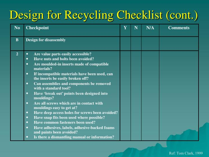 Design for Recycling Checklist (cont.)