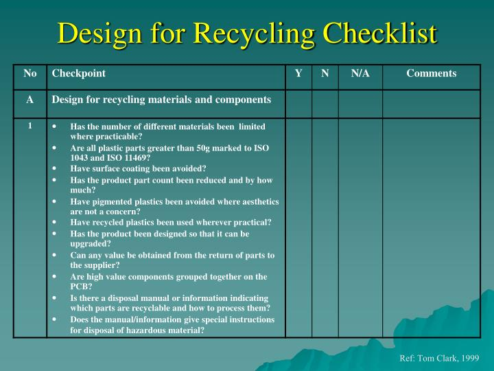 Design for Recycling Checklist