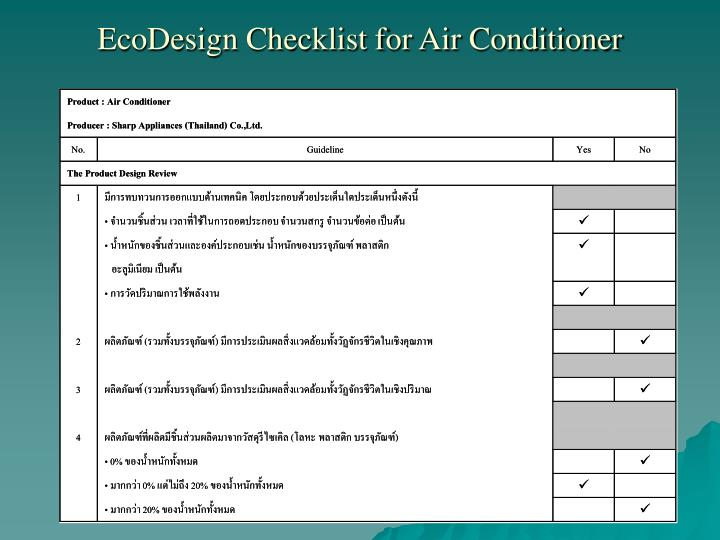 EcoDesign Checklist for Air Conditioner