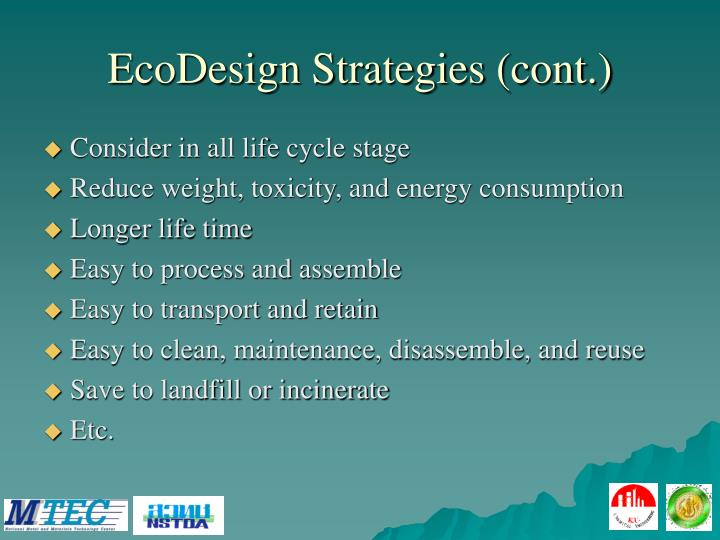EcoDesign Strategies (cont.)