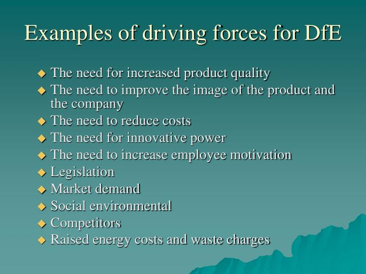 Examples of driving forces for