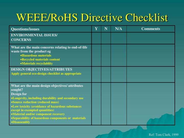 WEEE/RoHS Directive Checklist