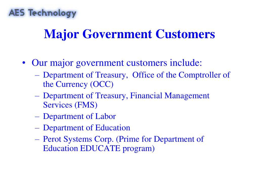 Major Government Customers