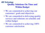 quality solutions on time and within budget