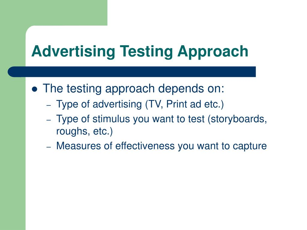 Advertising Testing Approach