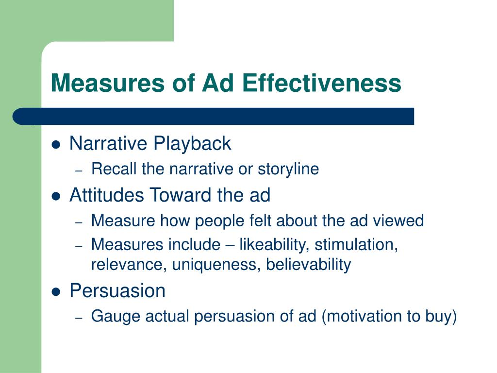 Measures of Ad Effectiveness