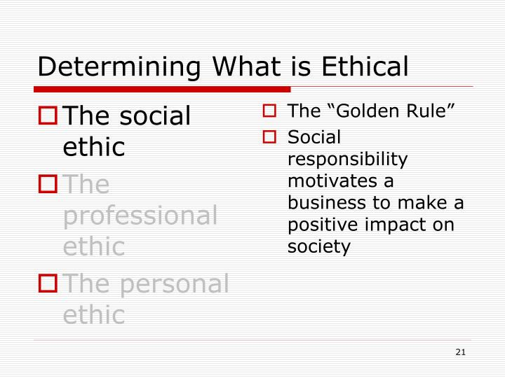 The social ethic