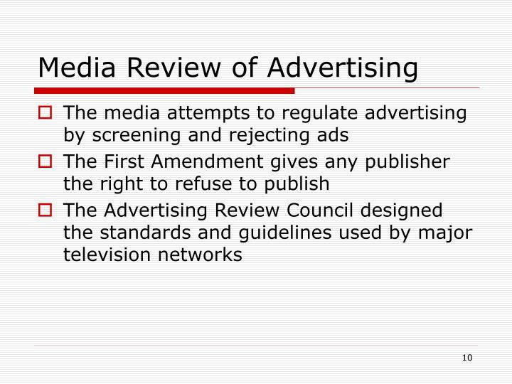 Media Review of Advertising
