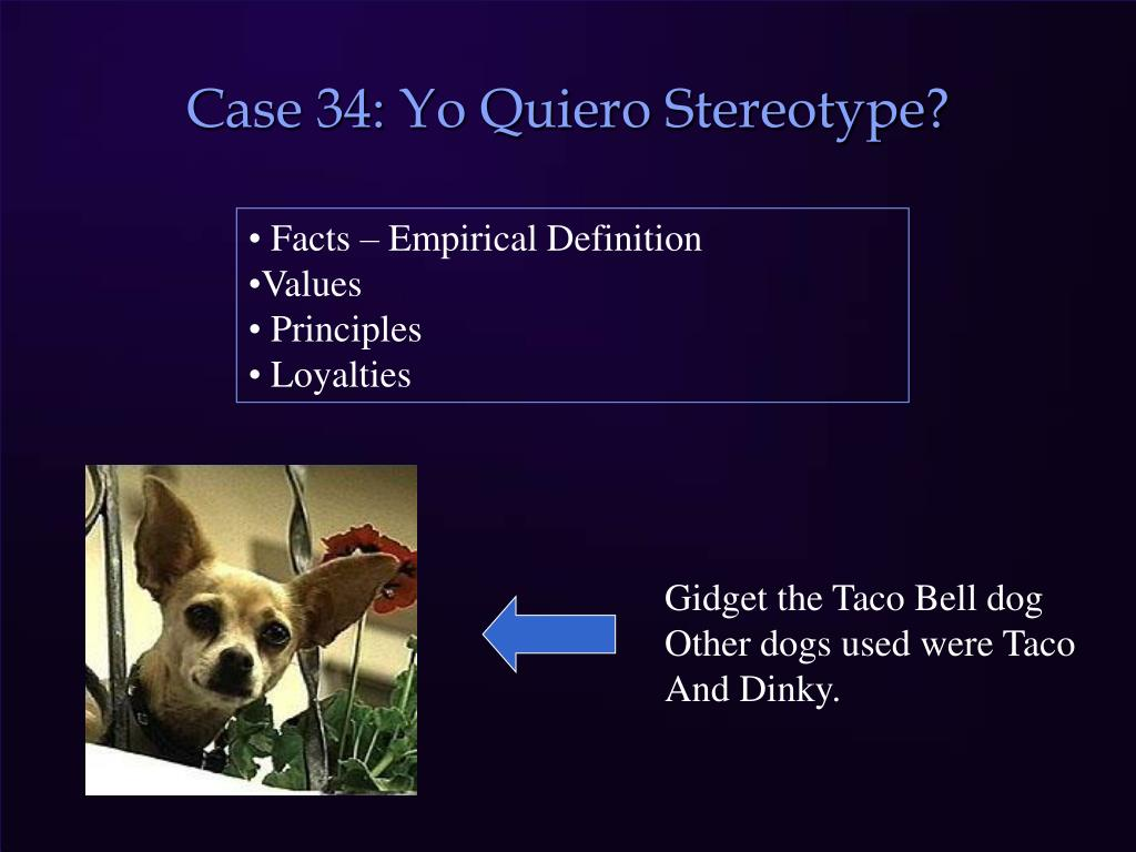 Case 34: Yo Quiero Stereotype?