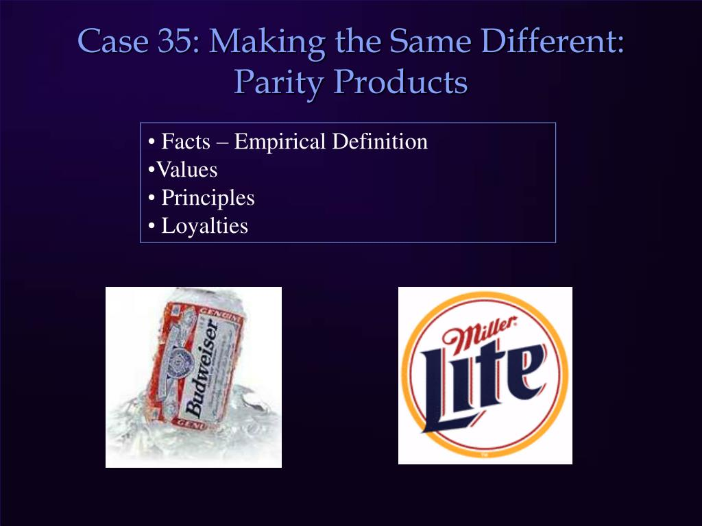 Case 35: Making the Same Different: Parity Products