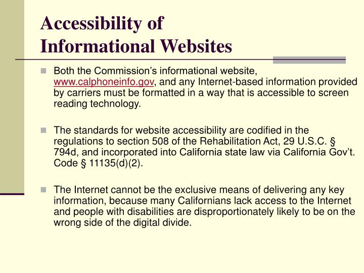 Accessibility of