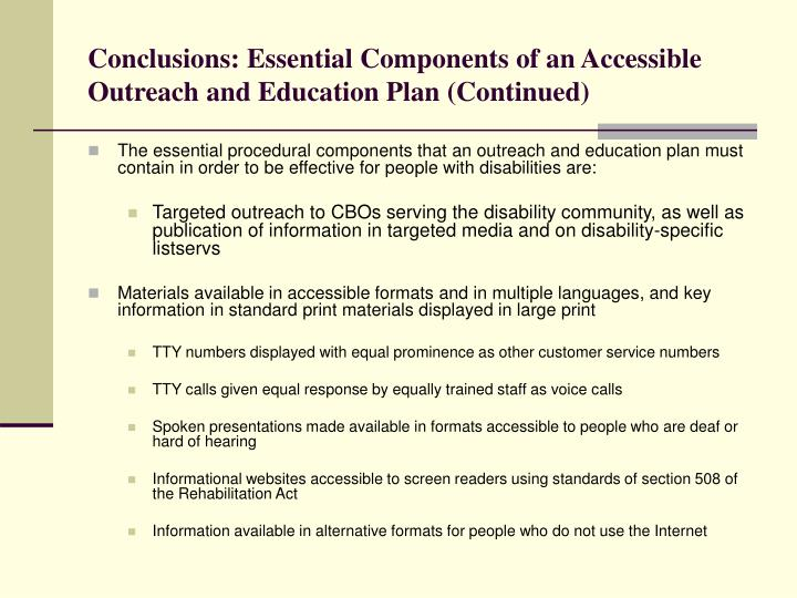 Conclusions: Essential Components of an Accessible Outreach and Education Plan (Continued)