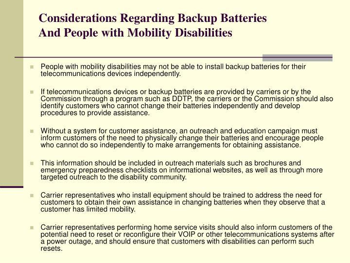 Considerations Regarding Backup Batteries