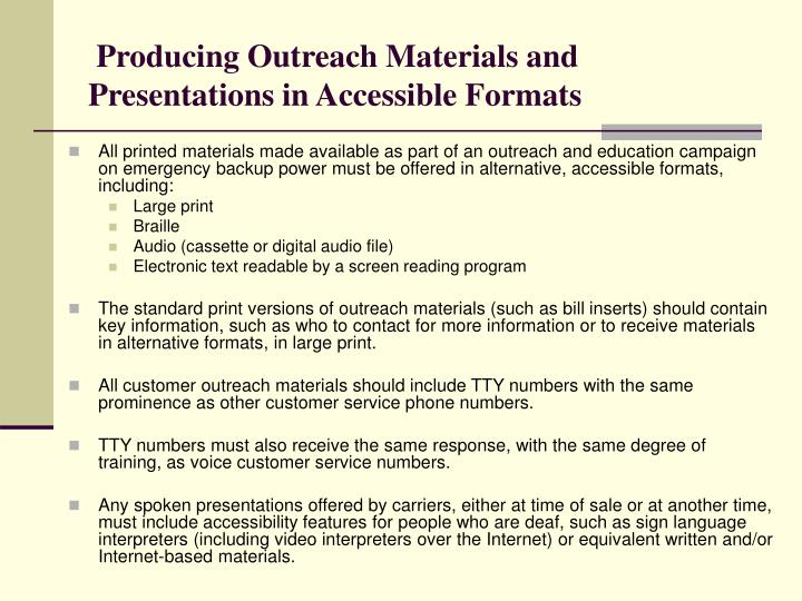 Producing Outreach Materials and Presentations in Accessible Formats