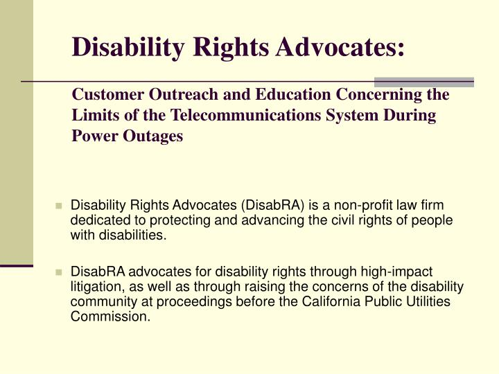 Disability Rights Advocates: