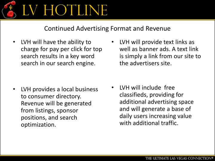 Continued Advertising Format and Revenue