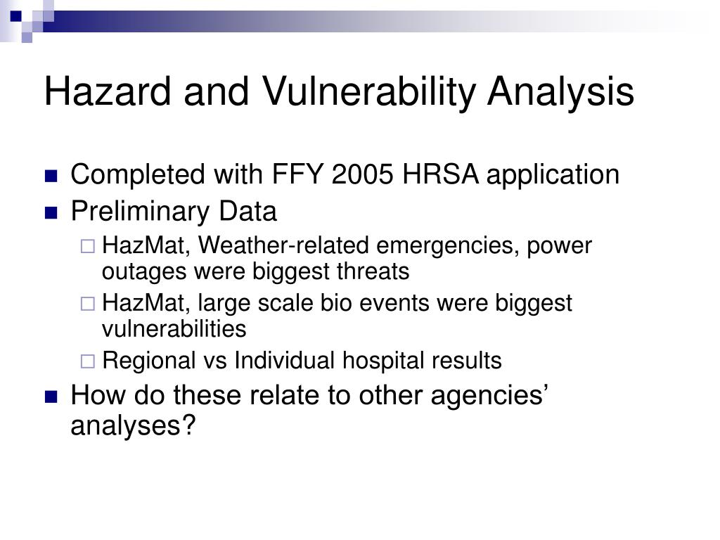 Hazard and Vulnerability Analysis