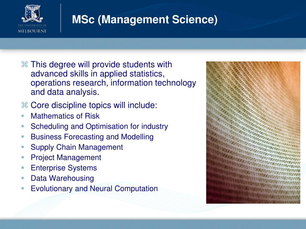 MSc (Management Science)