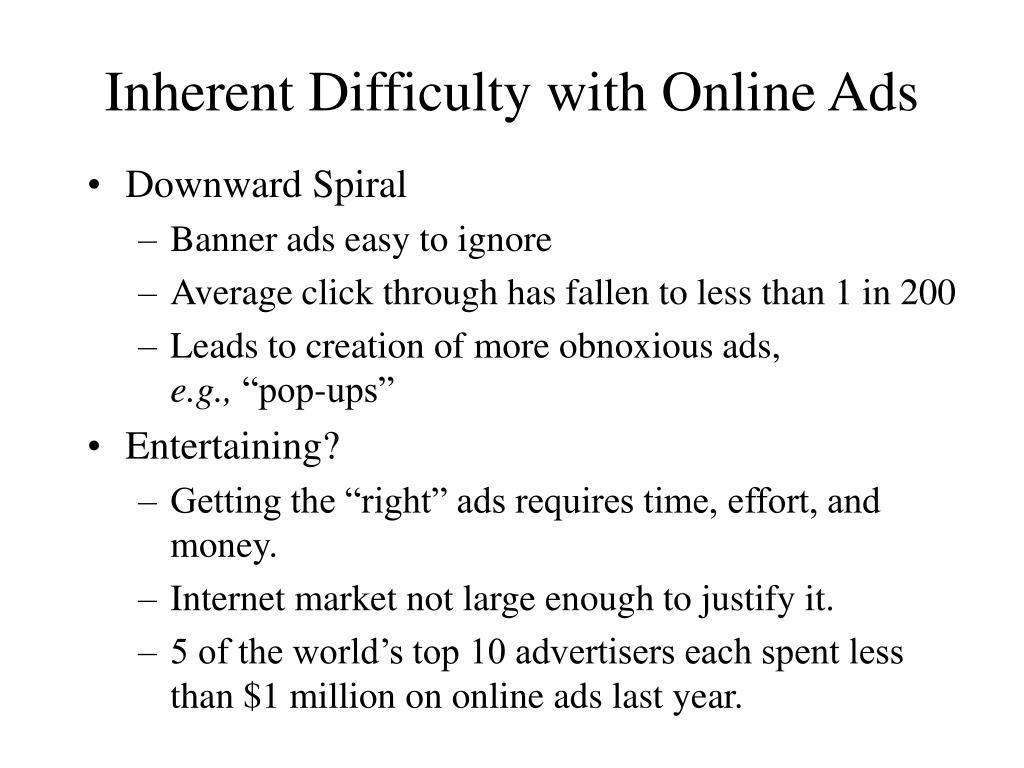 Inherent Difficulty with Online Ads