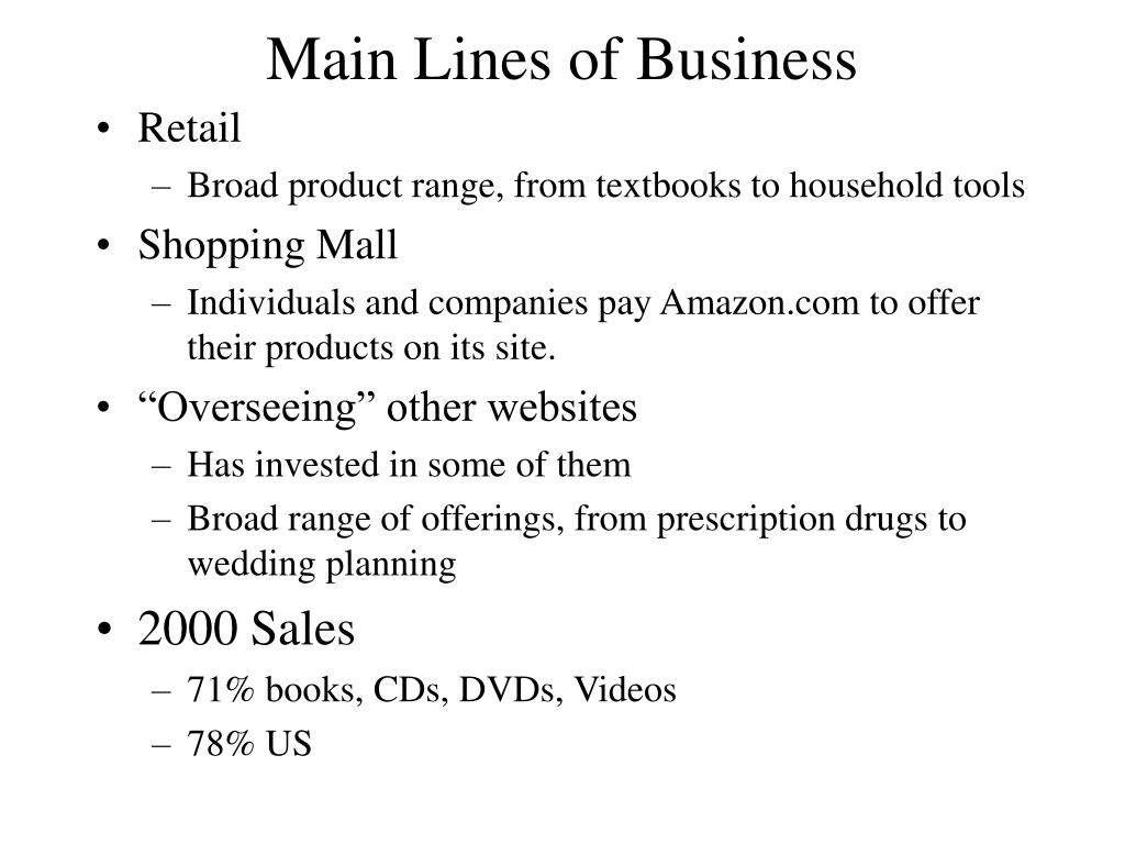 Main Lines of Business