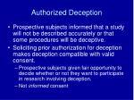 authorized deception