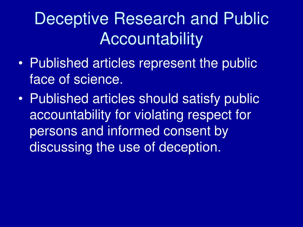 Deceptive Research and Public Accountability