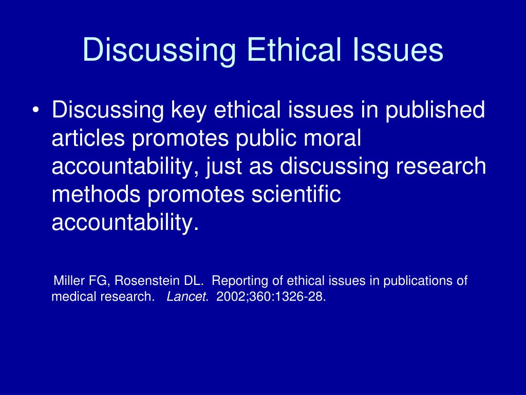 Discussing Ethical Issues