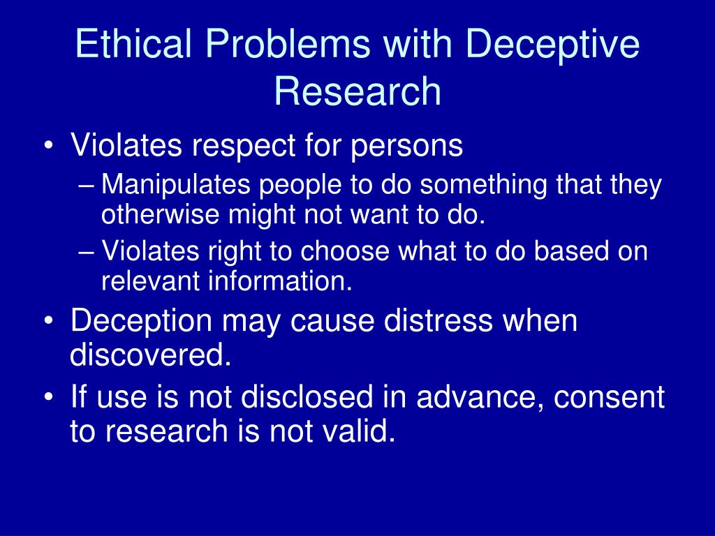 Ethical Problems with Deceptive Research