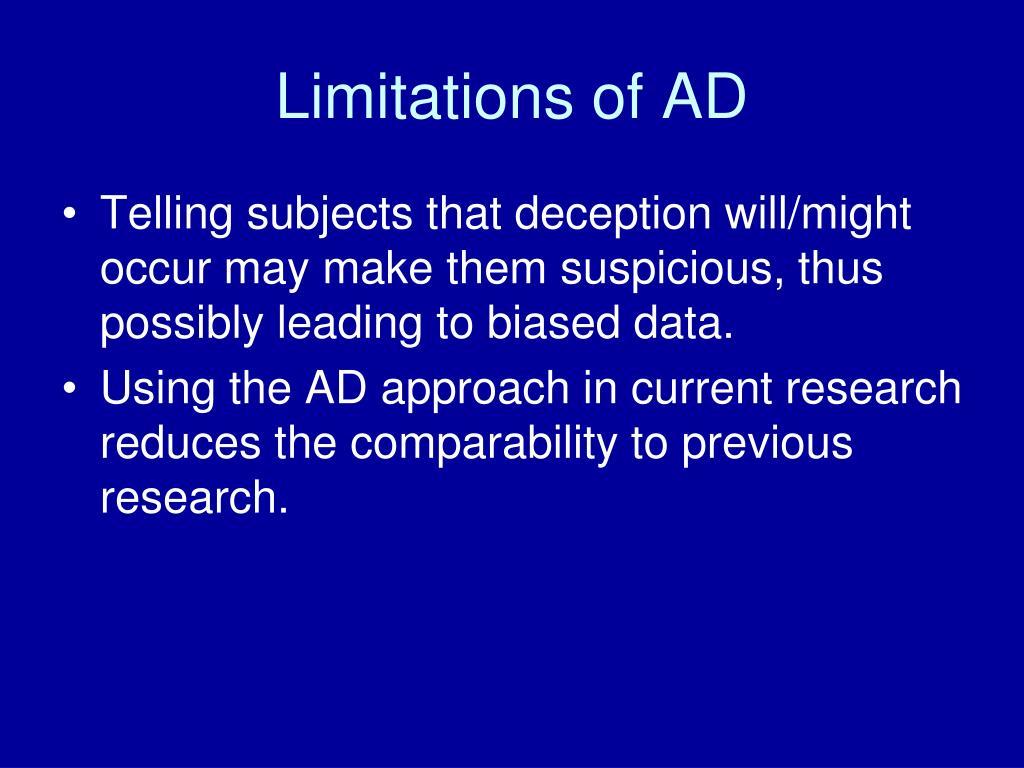 Limitations of AD