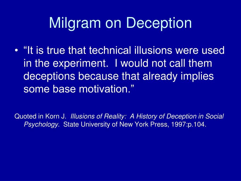 Milgram on Deception