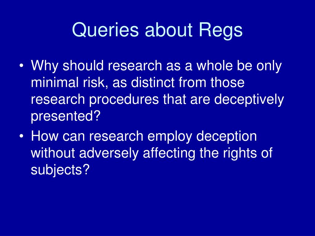 Queries about Regs