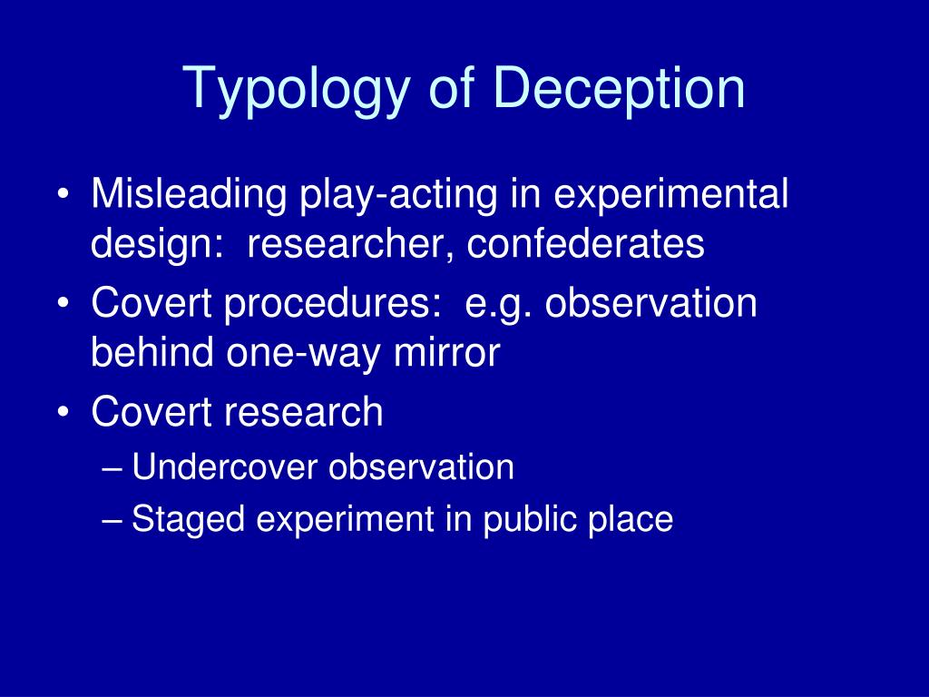 Typology of Deception