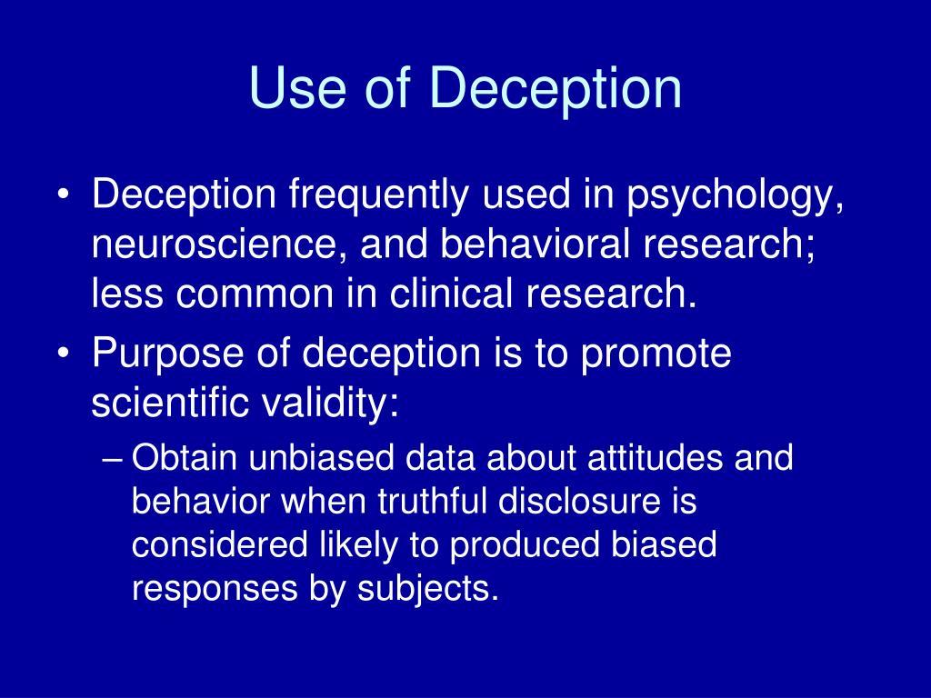 Use of Deception