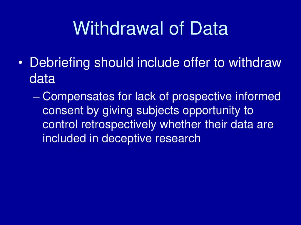 Withdrawal of Data