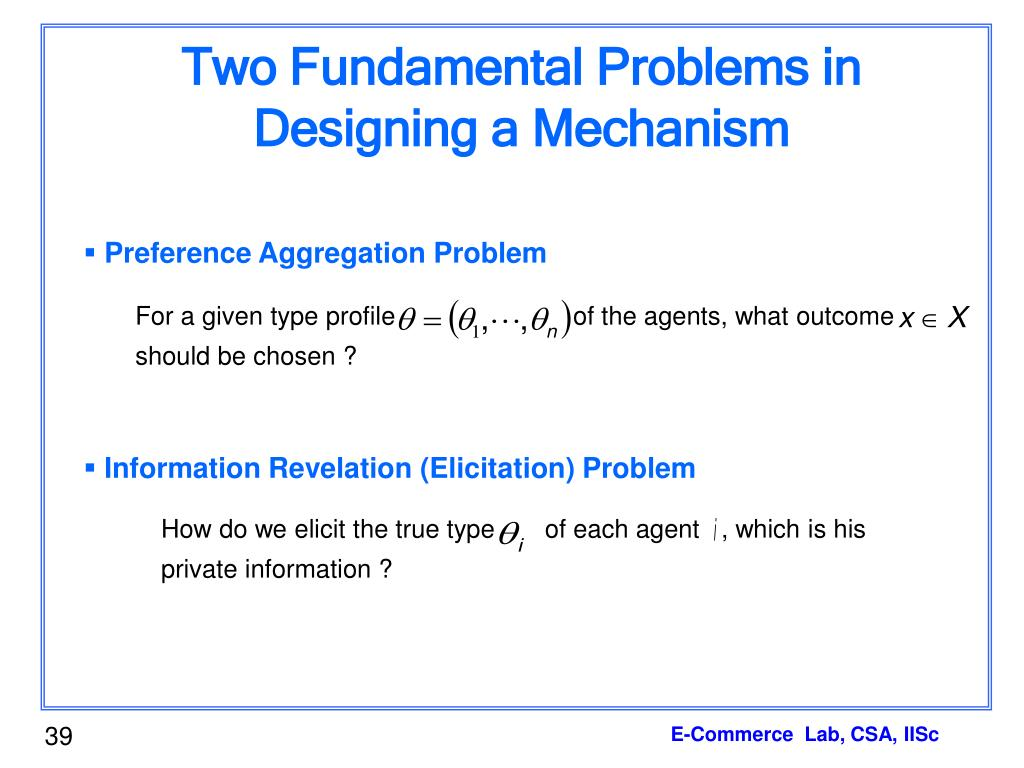 Two Fundamental Problems in Designing a Mechanism