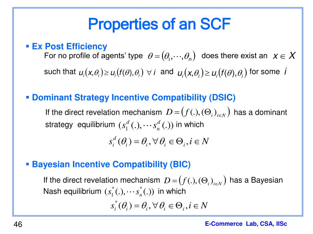 Properties of an SCF