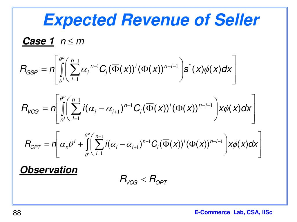 Expected Revenue of Seller