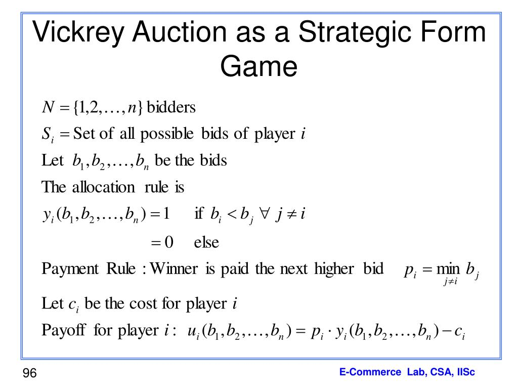 Vickrey Auction as a Strategic Form Game