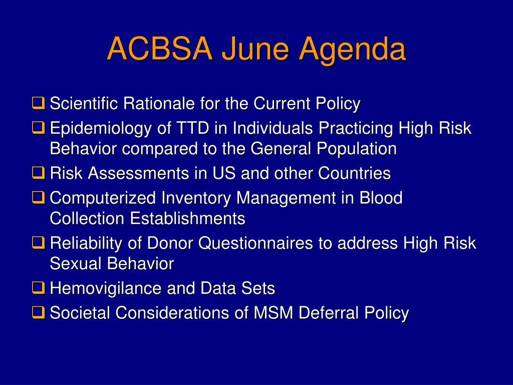 ACBSA June Agenda
