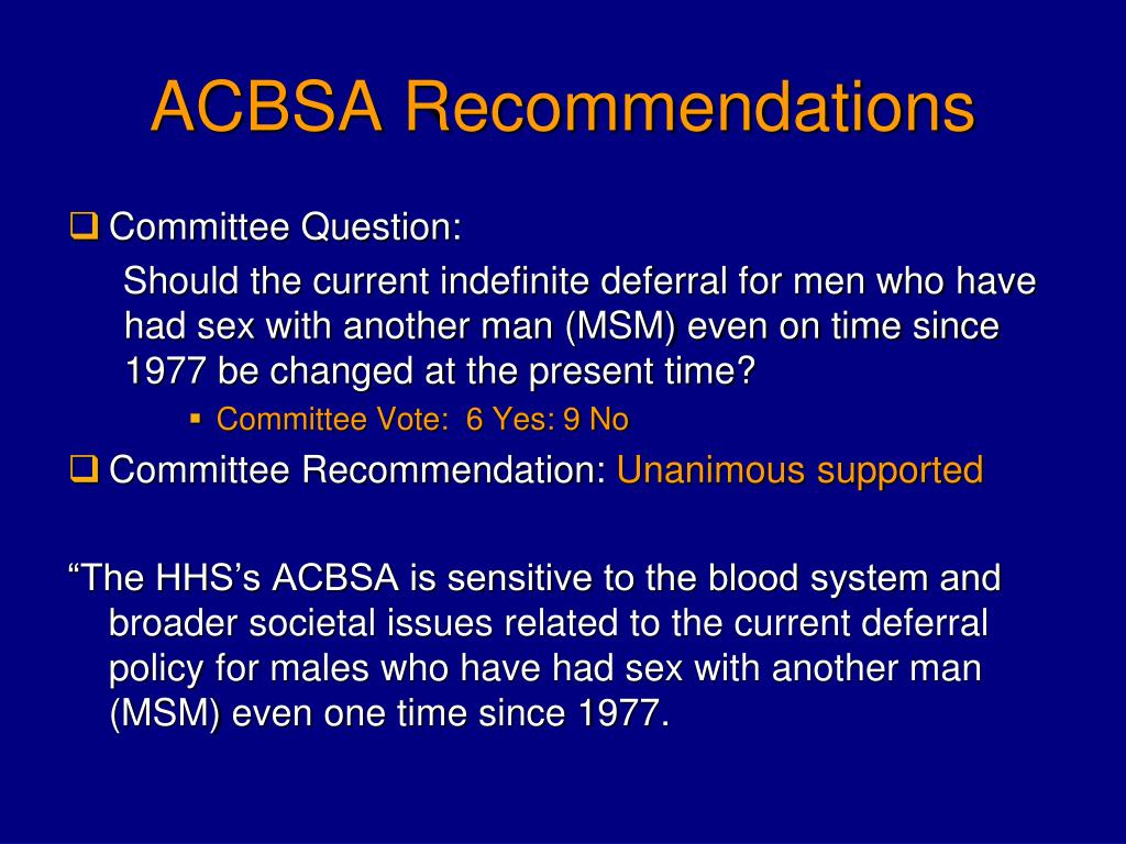 ACBSA Recommendations