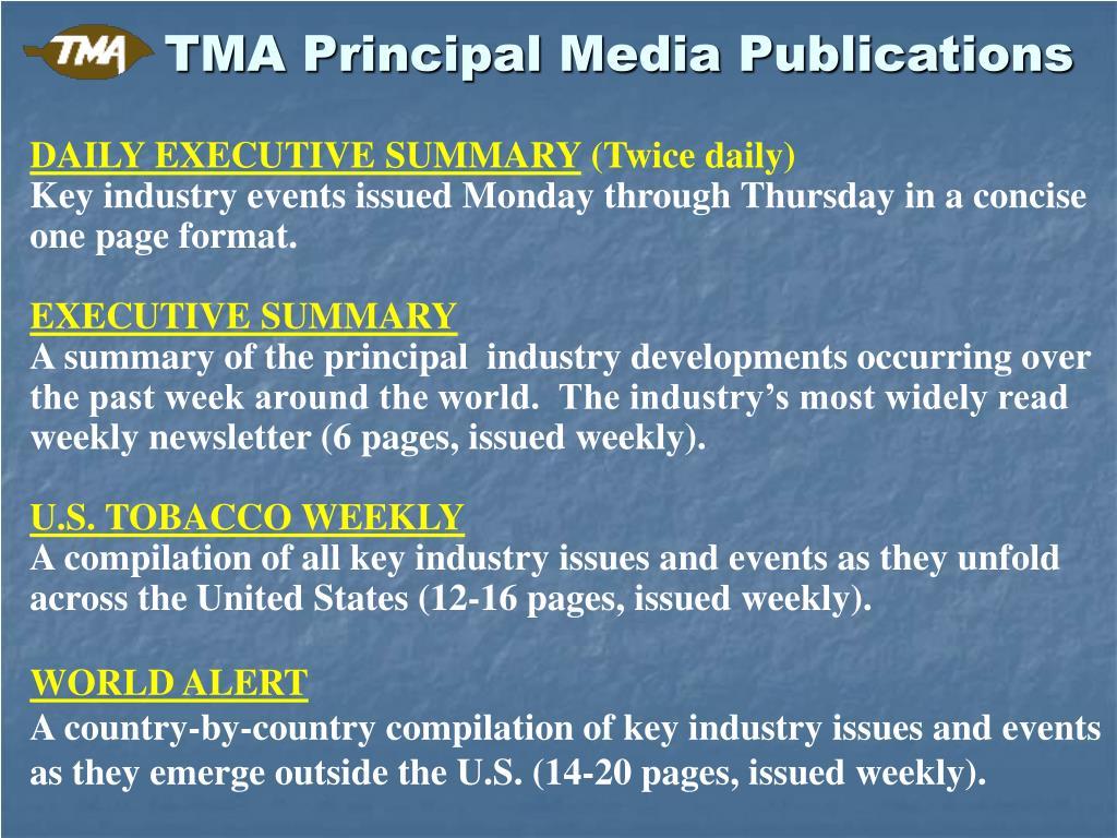 TMA Principal Media Publications
